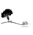 Abstract tree background with bicycle vector image