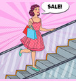 pop art woman with shopping bags in the mall vector image