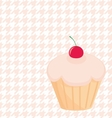 Cupcake on white and pink houndstooth background vector image