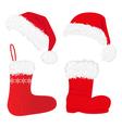 christmas caps and socks vector image