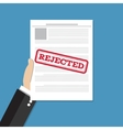 Hand holds rejected document vector image