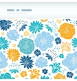 Blue and yellow flower silhouettes torn horizontal vector image