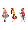 Christmas shopping girl vector image