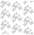 seamless pattern with butterflies outline drawing vector image