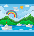 river scene with paper boat floating vector image