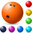 set of bowling balls vector image vector image