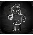 Cartoon Man Drawing on Chalk Board vector image