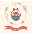 Easter card with basket full of Easter eggs vector image vector image