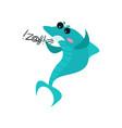 cute swearing shark cartoon character funny blue vector image