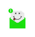 drunk emoji in green letter notification vector image