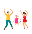 father mother and daughter jumping happy family vector image