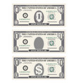 money set paper banknotes one dollar in gray vector image