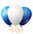 realistic white blue balloons with ribbons vector image