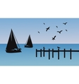 Silhouette of ship and pier vector image