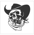 Skull In Cowboy Hat And Cigar vector image