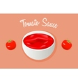 Tomato sauce or paste Ketchup and two tomatos vector image
