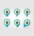 bucket flat pin map icon vector image