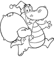 Royalty Free RF Clipart Black and White Crocodile vector image
