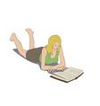 Girl lying reading book vector image