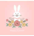 Happy easter bunny with flowers vector