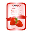 label with strawberry vector image vector image