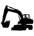 wheeled excavator silhouette vector image