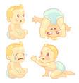 beauty cartoon emotion baby set vector image