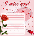 Greeting card I miss you with flower red rose vector image