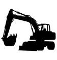 wheeled excavator silhouette vector image