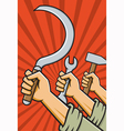 Raised Fists Holding Tools vector image vector image