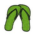 color crayon stripe beach green flip-flops shoes vector image
