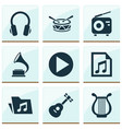 audio icons set collection of start instrument vector image