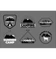 Camping logos set outdoor emblems labels vector image