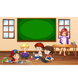 Children doing groupwork in classroom vector image