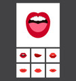 flat icon lips set of teeth tongue lips and vector image