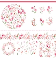 Floral spring elements with cute bunches of tulips vector image