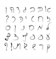 Hebrew alphabet Uppercase font Hand drawing vector image