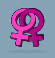 Lebian cartoon design Two symbols of female sex vector image