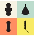 Pad tampon and menstrual cup set vector image