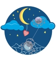 Spiders and Heart under the Moon vector image