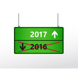 Green traffic sign with upcoming 2017 and cross vector image