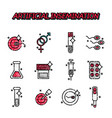 artificial insemination flat icons set vector image