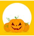 Halloween pumpkins on orange background vector image