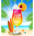 Exotic cocktail with summer greeting vector image