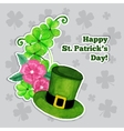 Stpatrick day greeting card with hat flowers and vector image