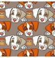 cartoon dog on grey seamless pattern vector image