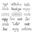 Collection of hand drawn words for your design vector image