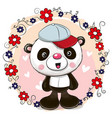 greeting card panda with flowers vector image