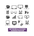 network systems administration icons set vector image
