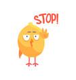 stop funny cartoon comic chicken showing hand vector image